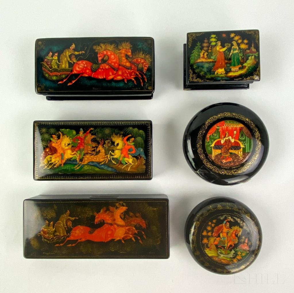 LOT 6 Signed Russian Folk Art Lacquer Mini Boxes
