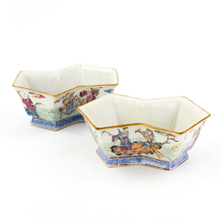 Pr Chinese Marked Porcelain Famille Rose Planters
