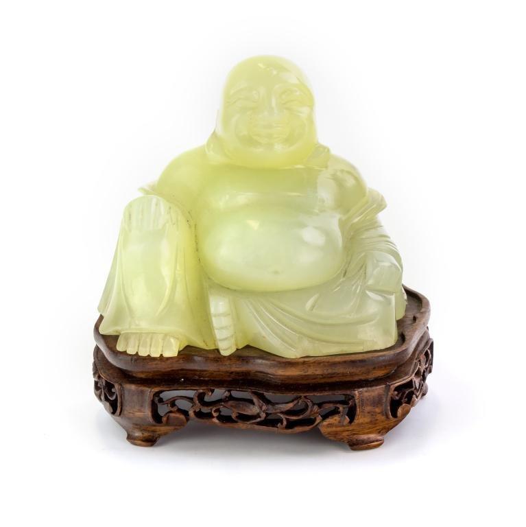 """Chinese Green Jade Happy Hotei 4"""" Buddha Sculpture"""