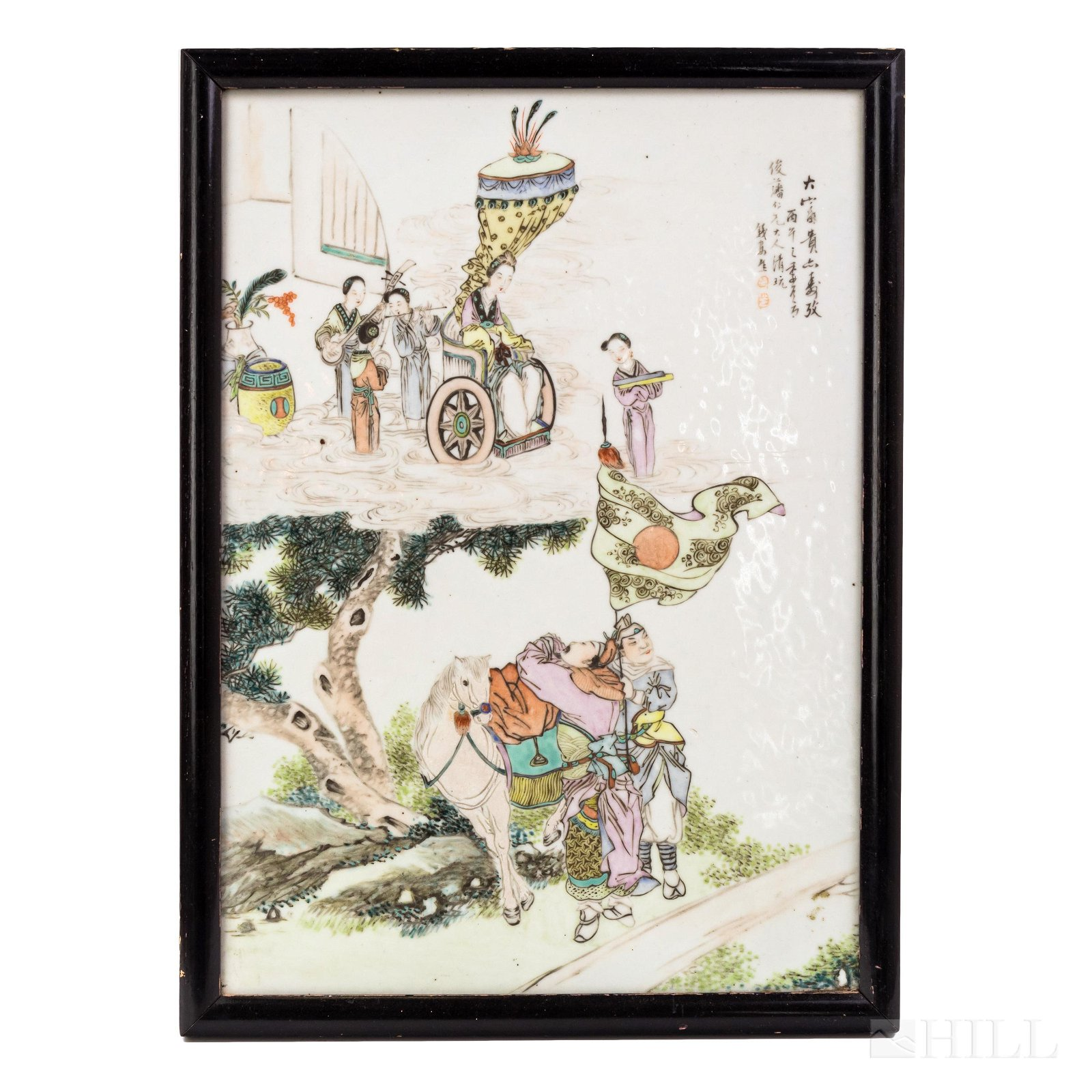 """Chinese Scenic Enameled Porcelain Plaque Panel 16"""""""