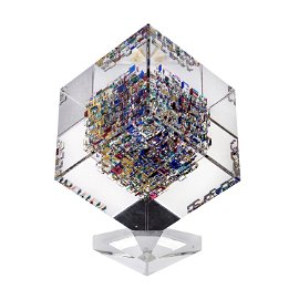 Jon Kuhn (American B1949) Art Glass Cube Sculpture
