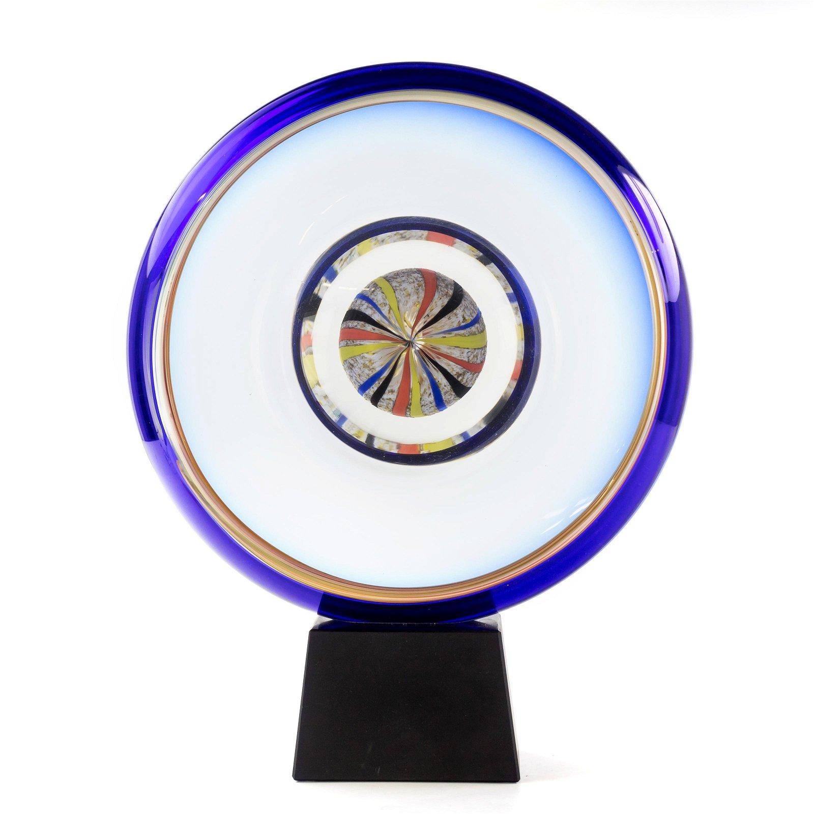 Stefano Toso Murano Italy Art Glass Disc Sculpture