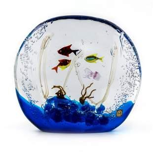 Oscar Zanetti Murano Art Glass Aquarium Fish Tank