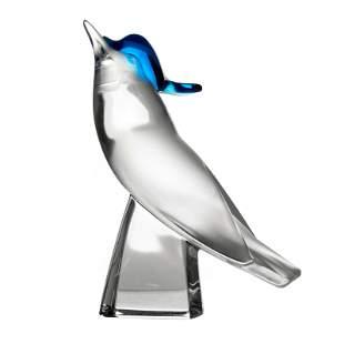 Lalique French Art Glass Pimlico Blue Crest Bird