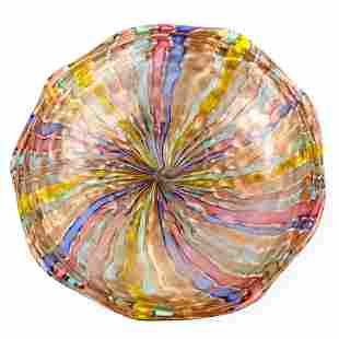 """Murano Italian 13"""" Studio Art Glass Rainbow Bowl"""