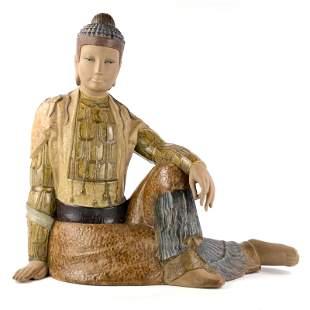 Lladro Young Oriental Man Buddha Figurine # 2021