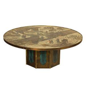 """Philip & Kelvin LaVerne """"Chan"""" Round Coffee Table"""