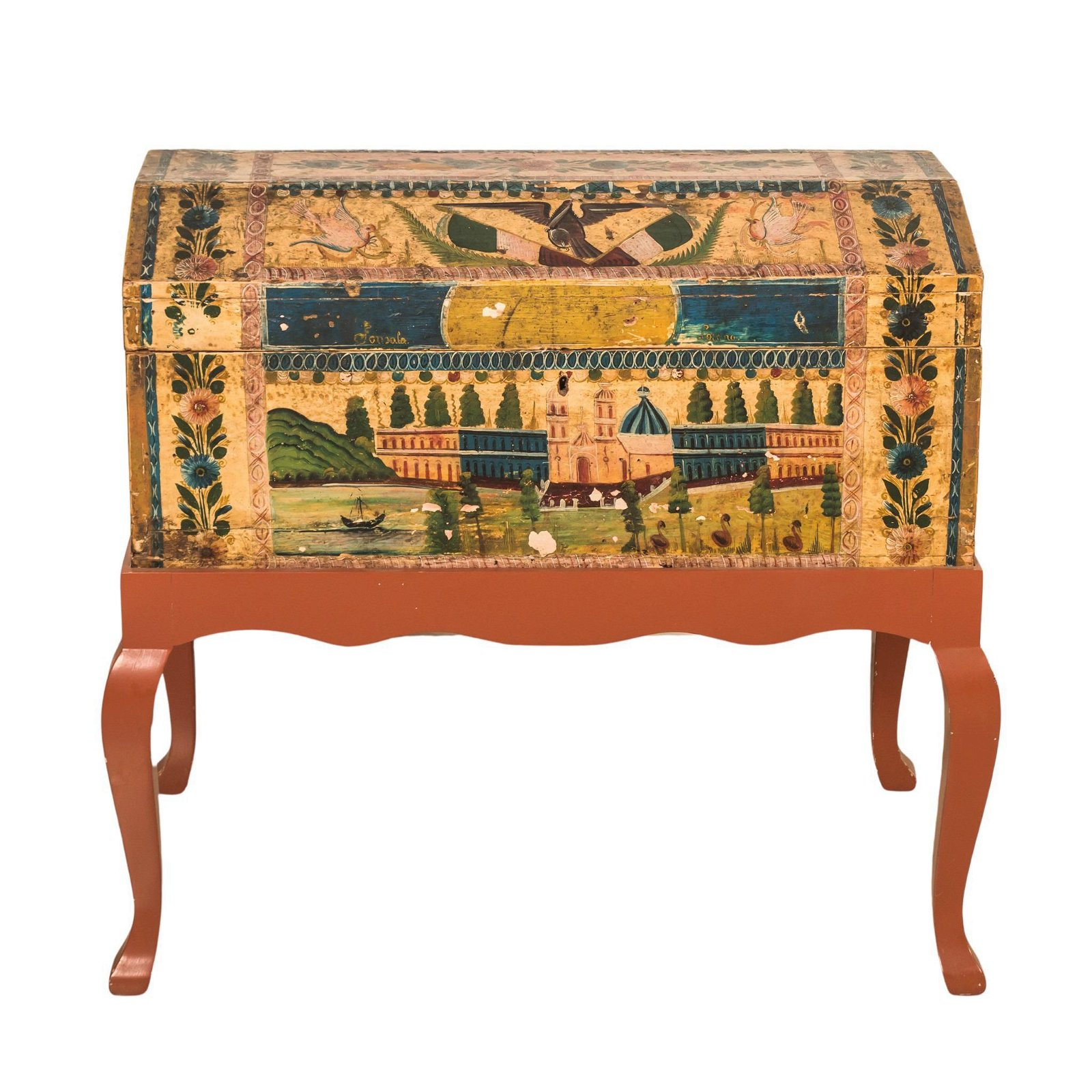 Mexican Traditional Maque Lacquered Blanket Chest