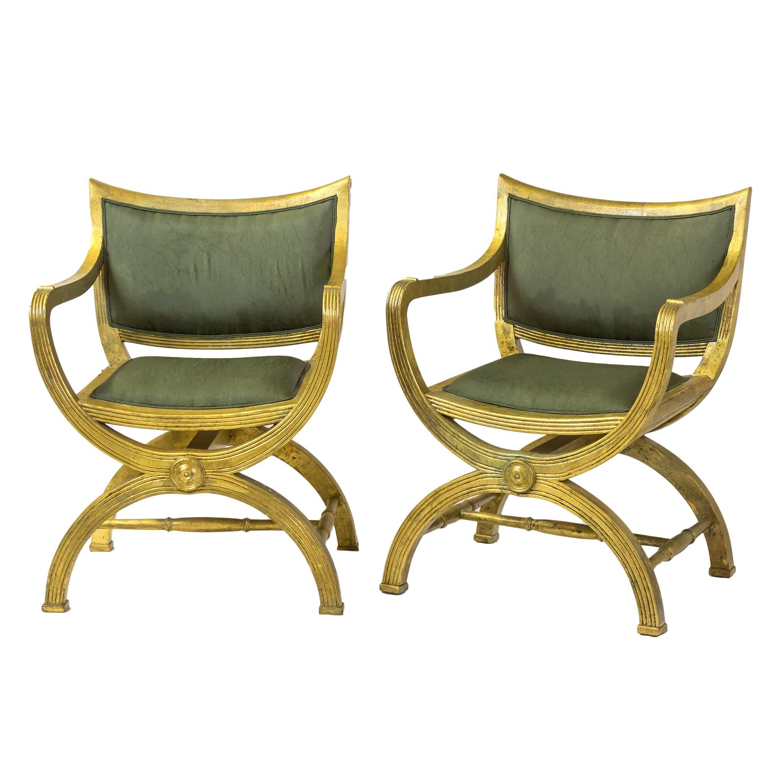 Pair Neoclassical Curule Campaign Chair Armchairs