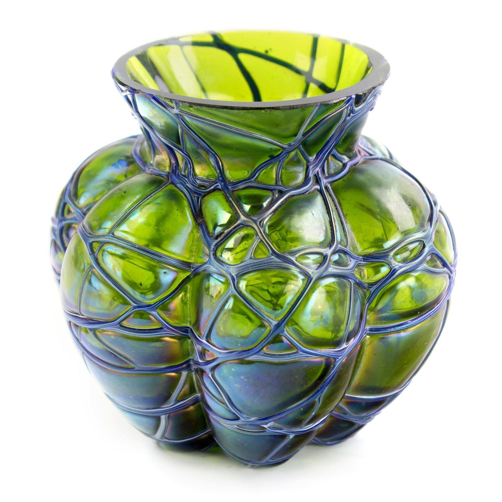 Loetz Green Iridescent Art Glass Spider Web Vase