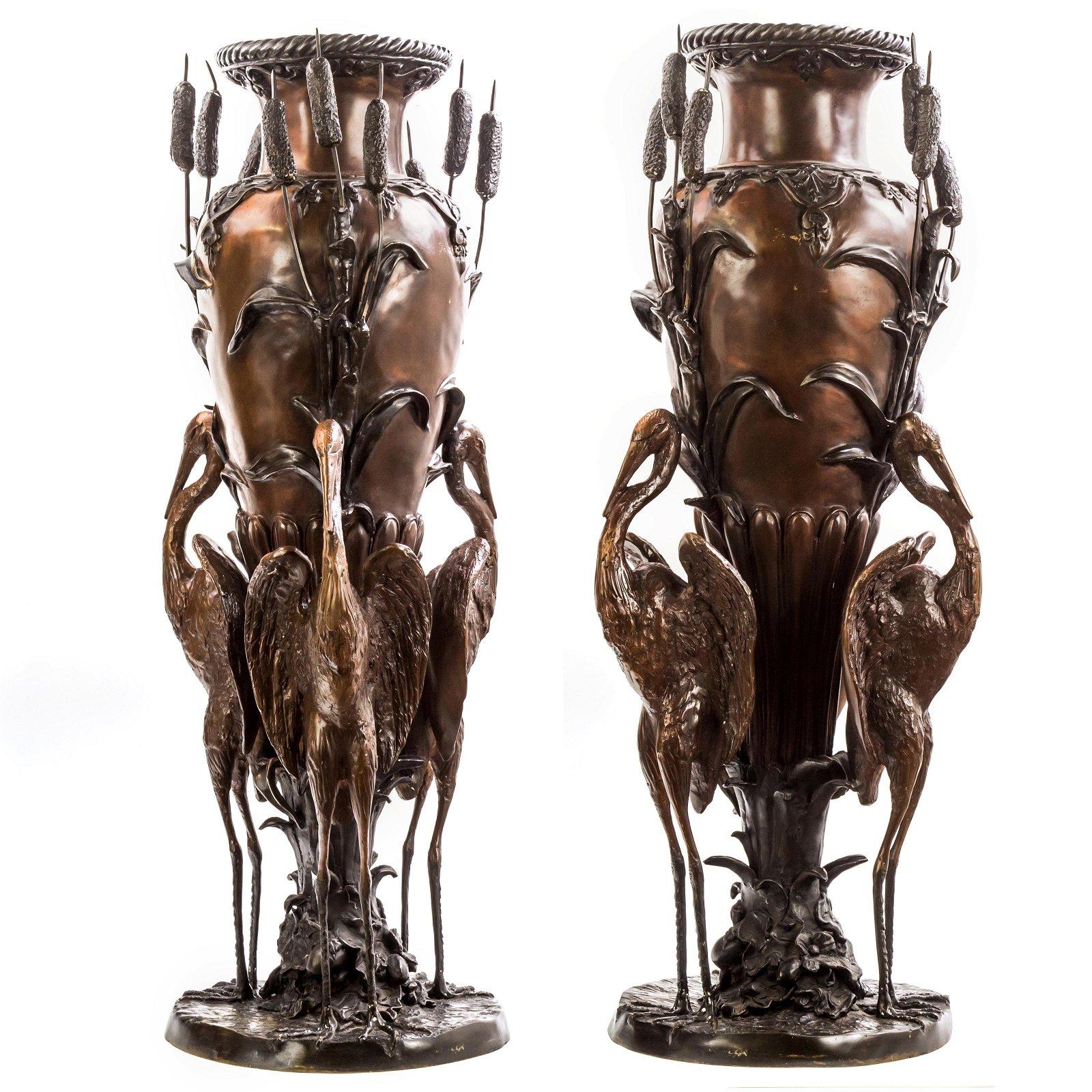 PAIR Asian Bronze Amphora Palace Crane Floor Vases