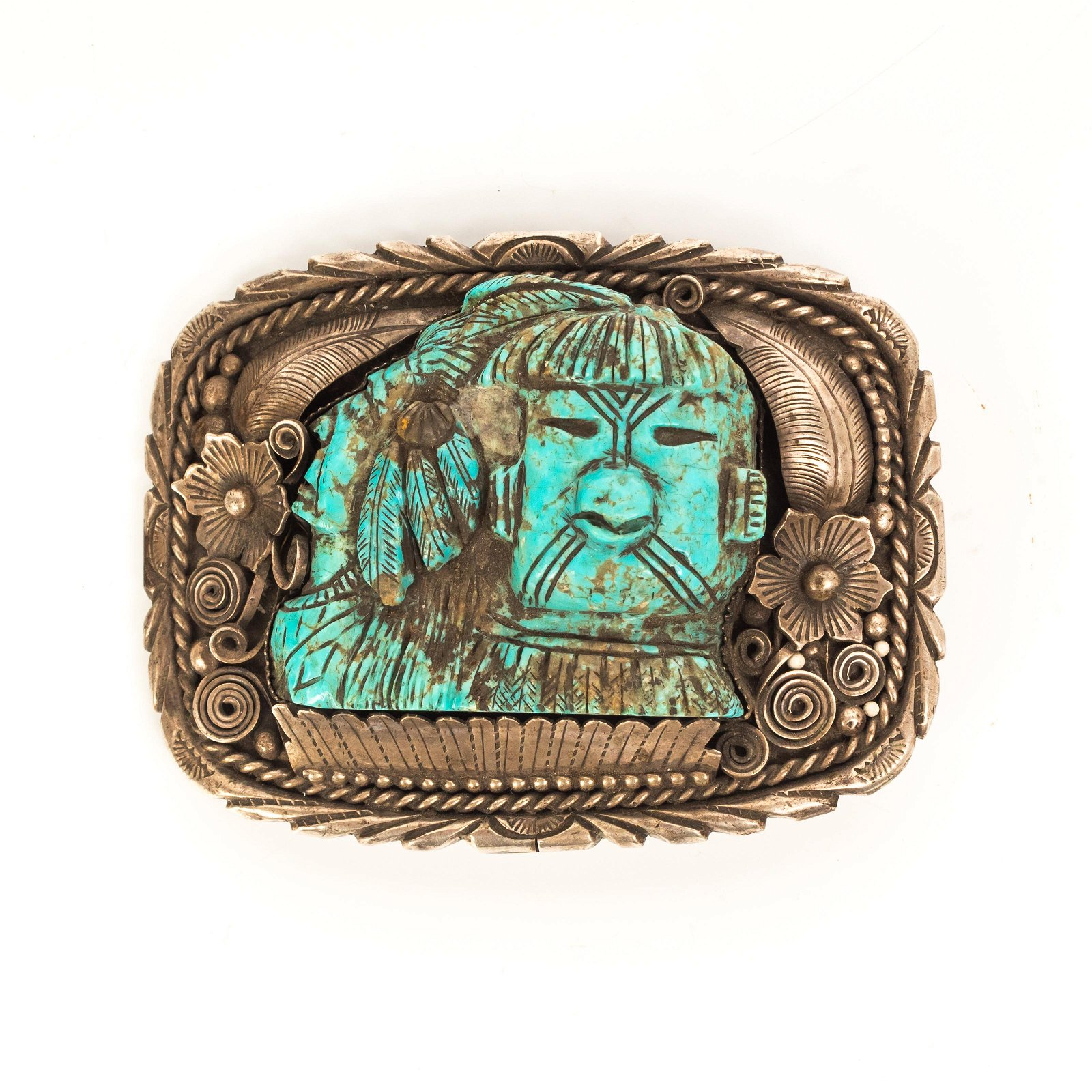 Navajo Tribe Sterling Silver Turquoise Belt Buckle