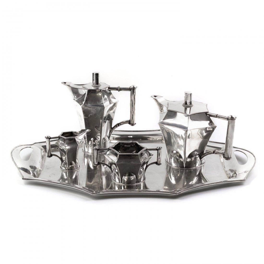 5 Pc Art Nouveau Sterling Silver Tea Service 3054g