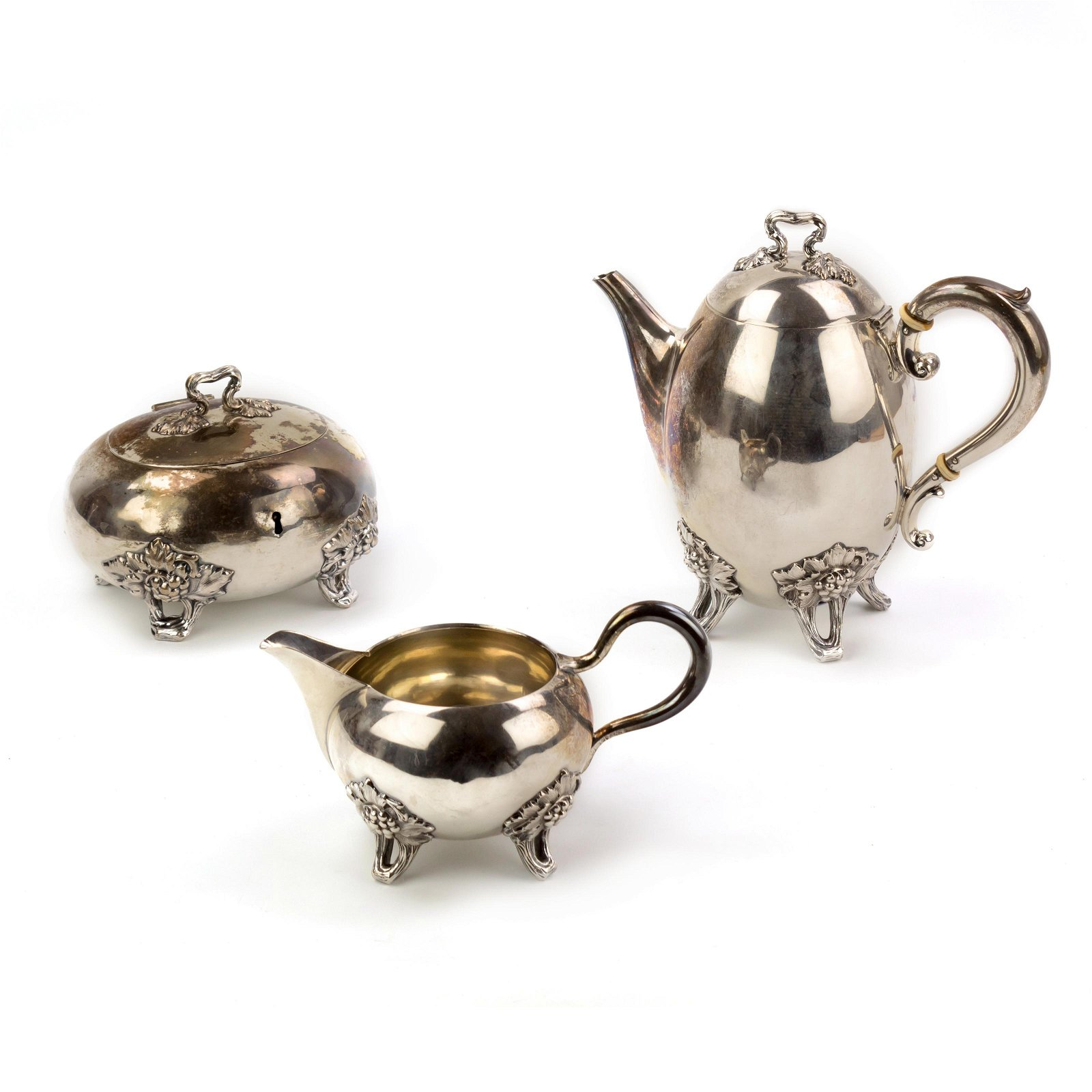 3 Pc Art Nouveau German 800 Silver Tea Set 1258 g.