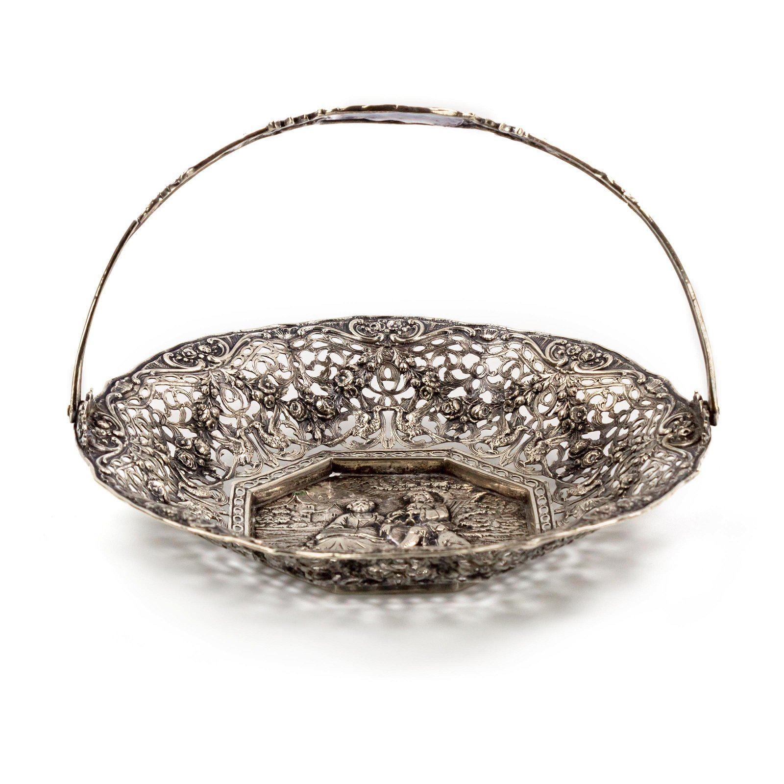 Ornate 800 Silver Repousse Reticulated Basket Bowl