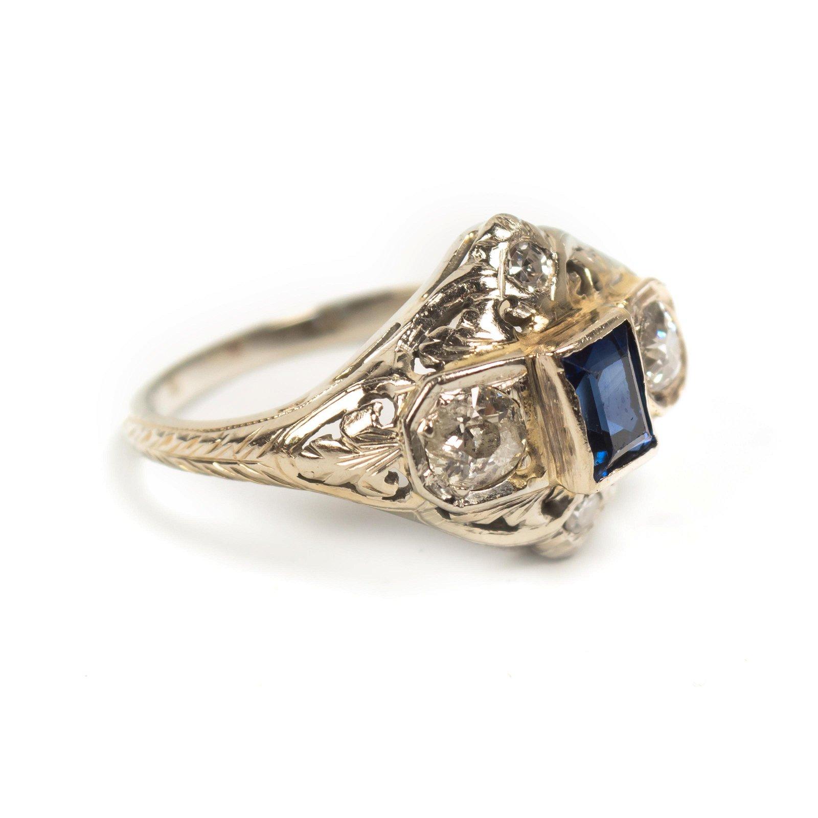 Art Deco 14k White Gold Diamond Blue Sapphire Ring