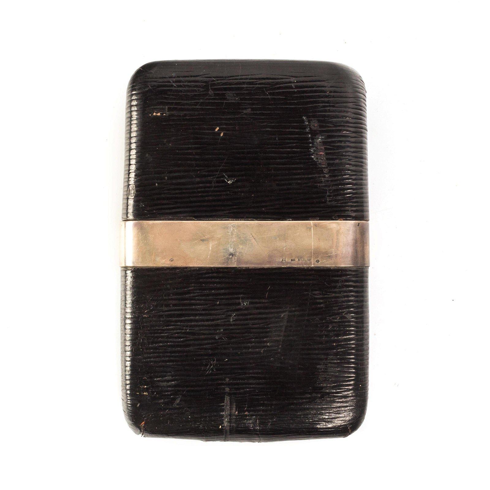 Sterling Silver Leather Antique Cigar Holder Case
