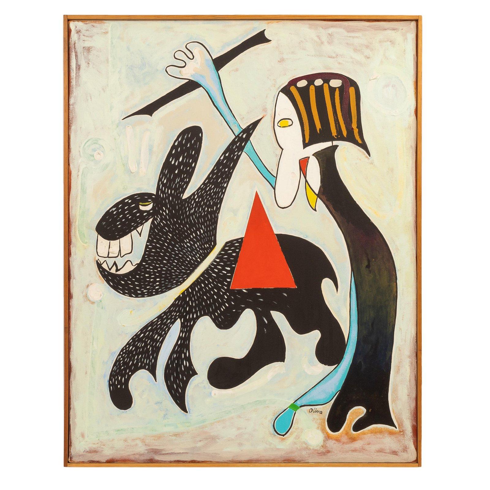 Eduard Oliva 1985 Oil On Canvas Cubist Painting