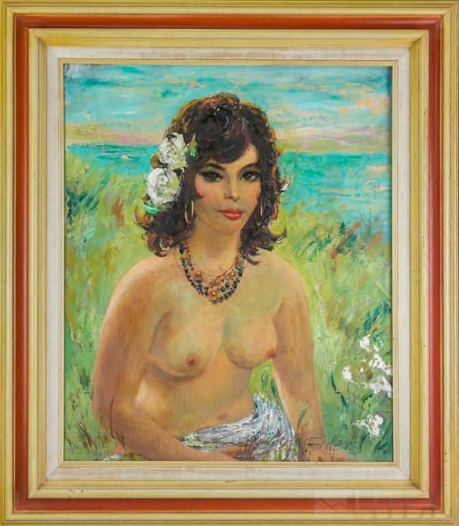 Herbert Otto Fiedler Female Nude Oil Painting MCM