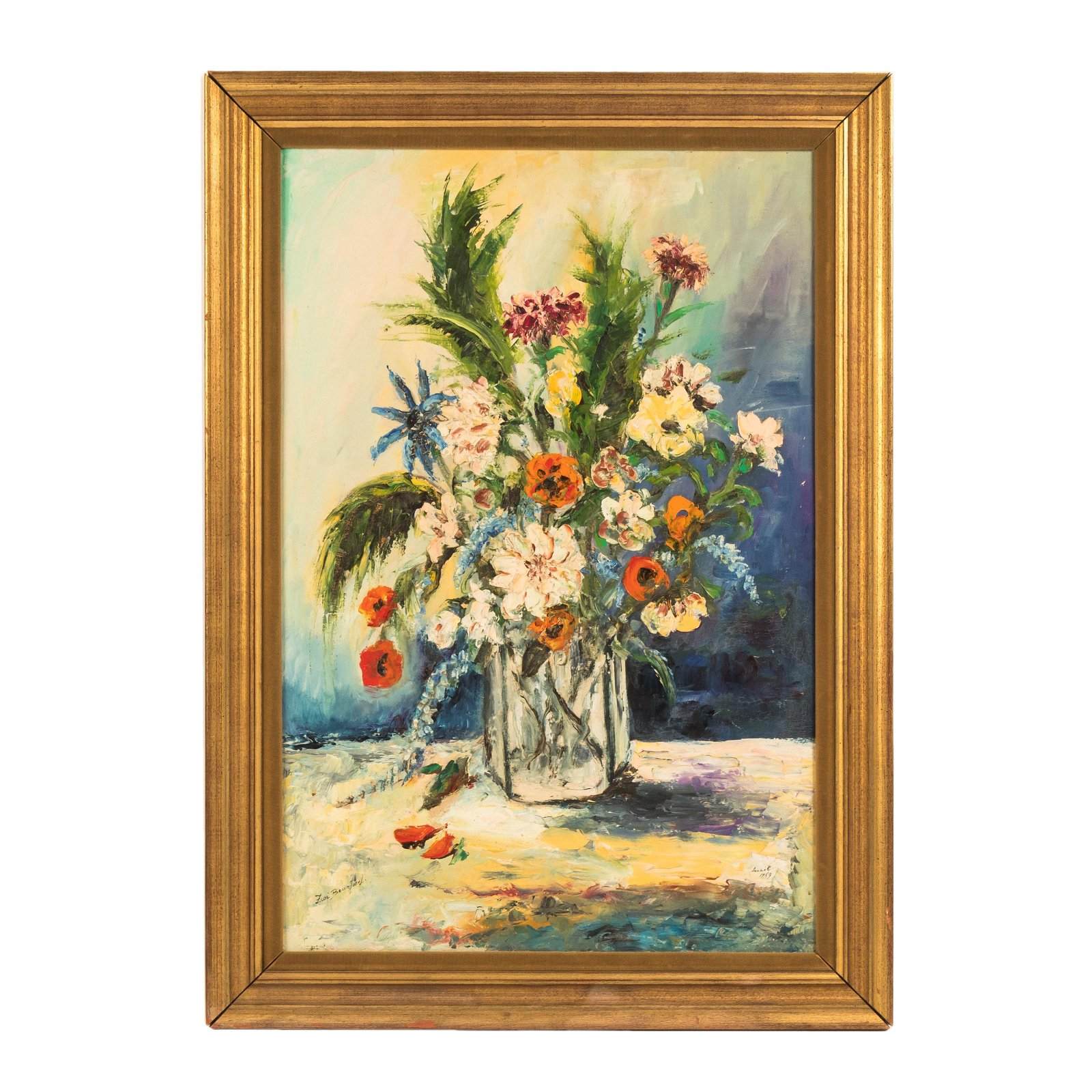 Mystery Signed 1969 Floral Still Life Oil Painting