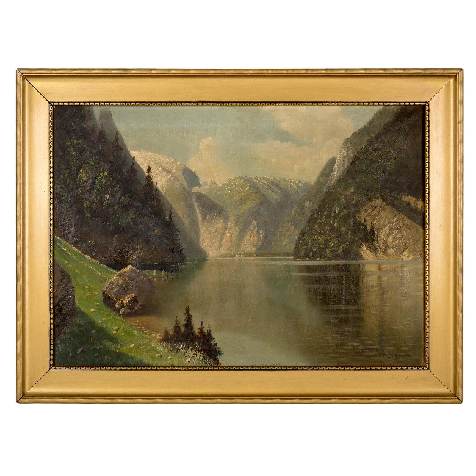 Hans Beyer Signed Landscape Oil Painting on Canvas