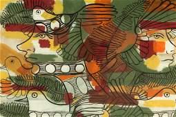 Rene Portocarrero 1912-1985 Olmec Gouache Painting