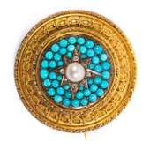 Victorian 15k Gold Diamond Turquoise, Pearl Brooch