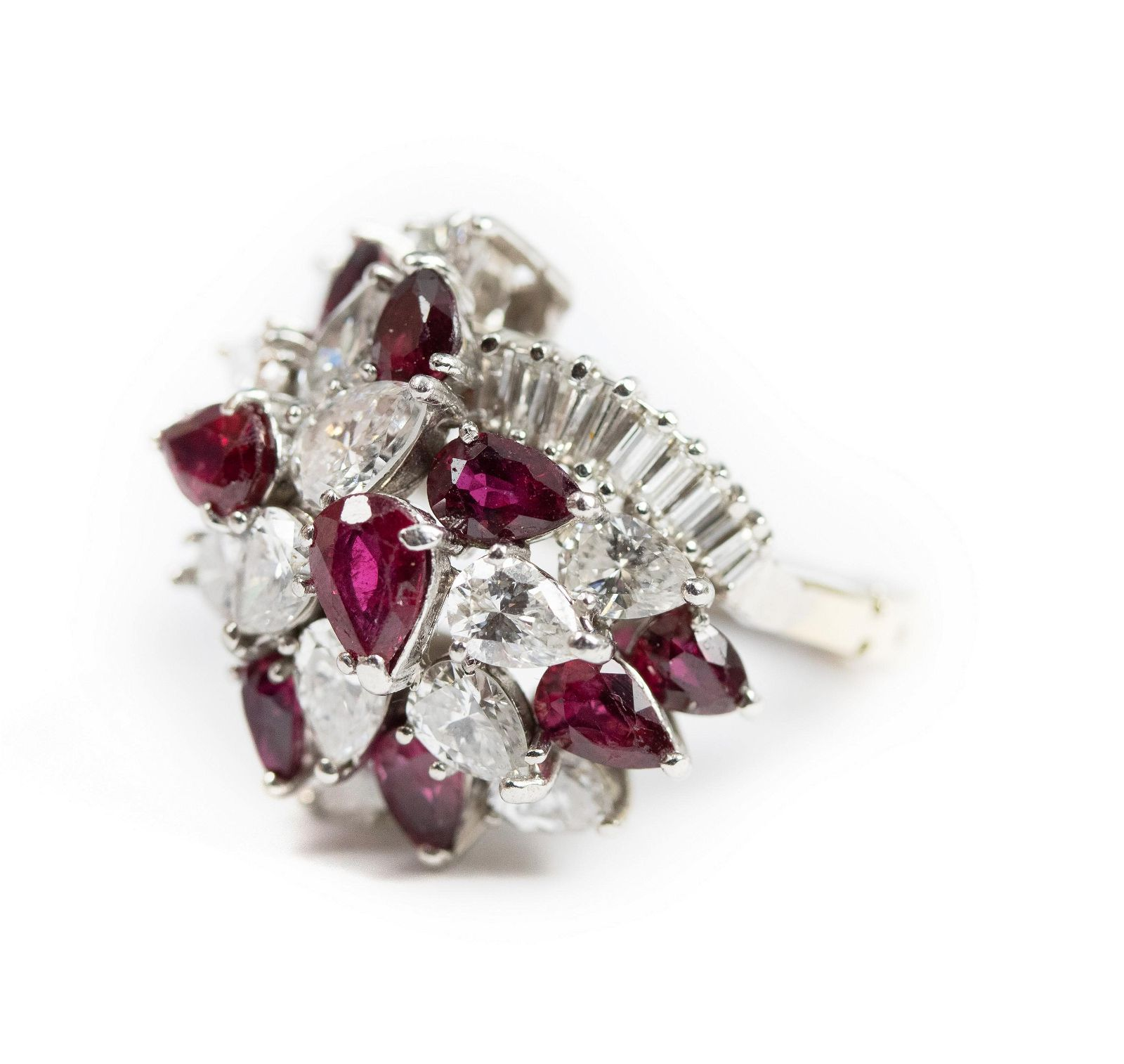 Platinum 5.58 CTTW Ruby Diamond Cocktail Ring