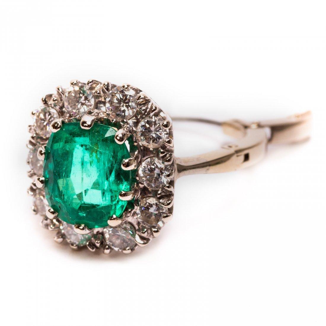 14k Gold 4 CTTW Colombian Emerald Diamond Ring