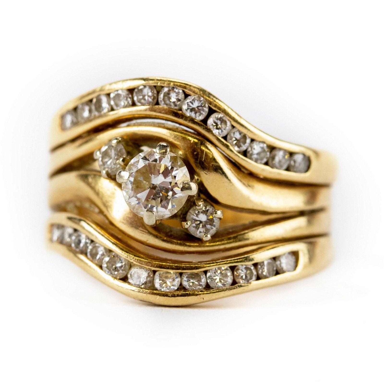 14k Gold 4/5 CTTW Ladies Diamond Cocktail Ring