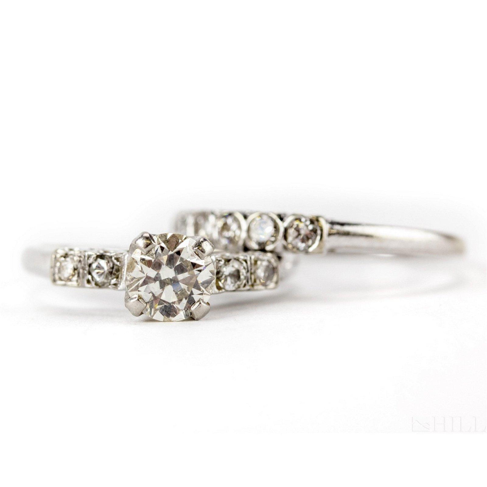14k Gold 1 1/4 CTTW Diamond Engagement Ring SET