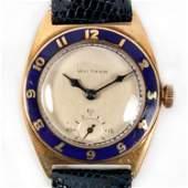 Waltham Art Deco 14k Solid Gold Enamel Watch