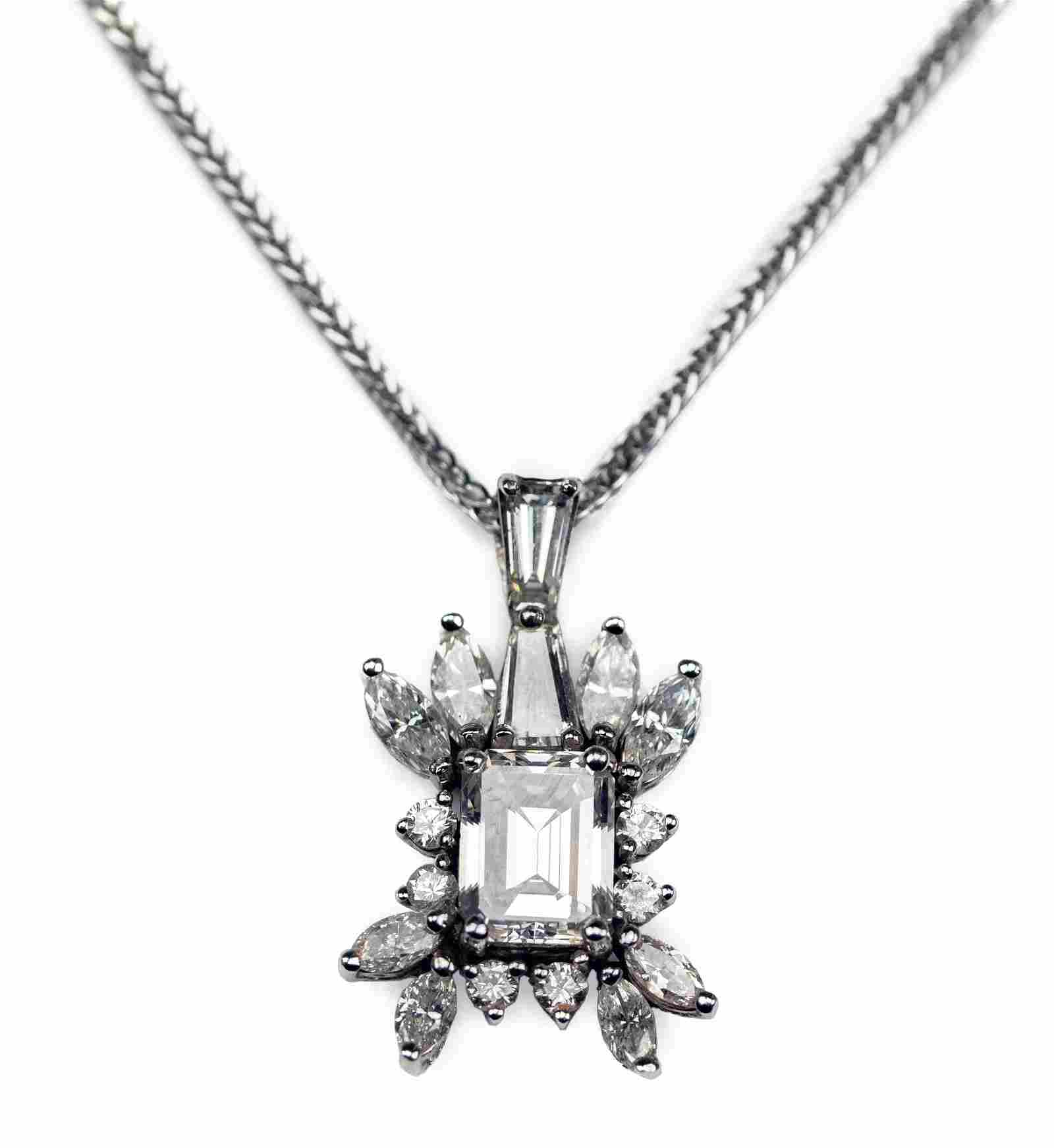 Fine 14k White Gold 3.38 CTTW Diamond Pendant