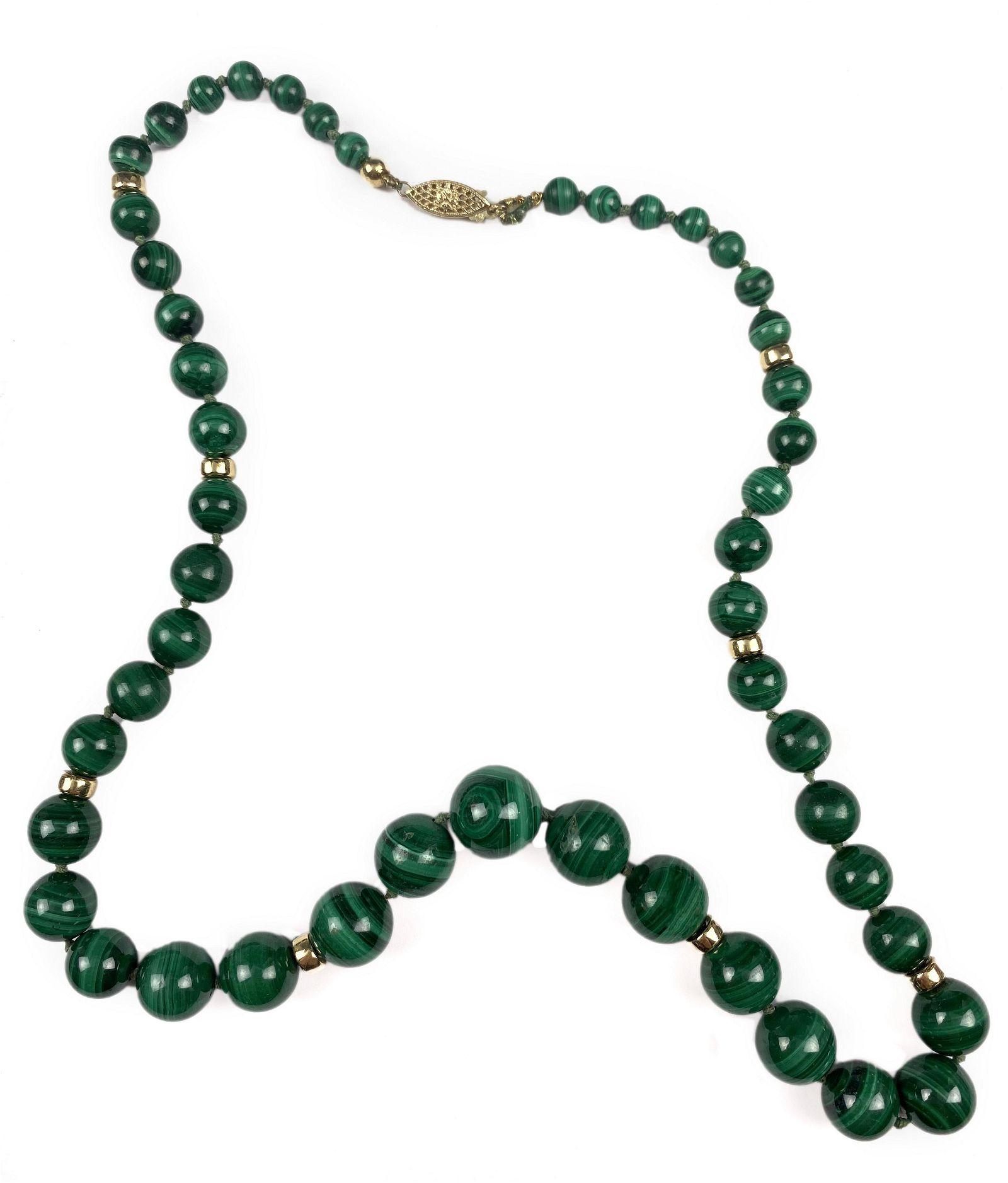 Ladies Vintage 14k Gold Green Malachite Necklace