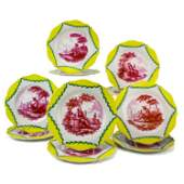 French Tournay 10 Pc Faience Yellow Puce Plate Set