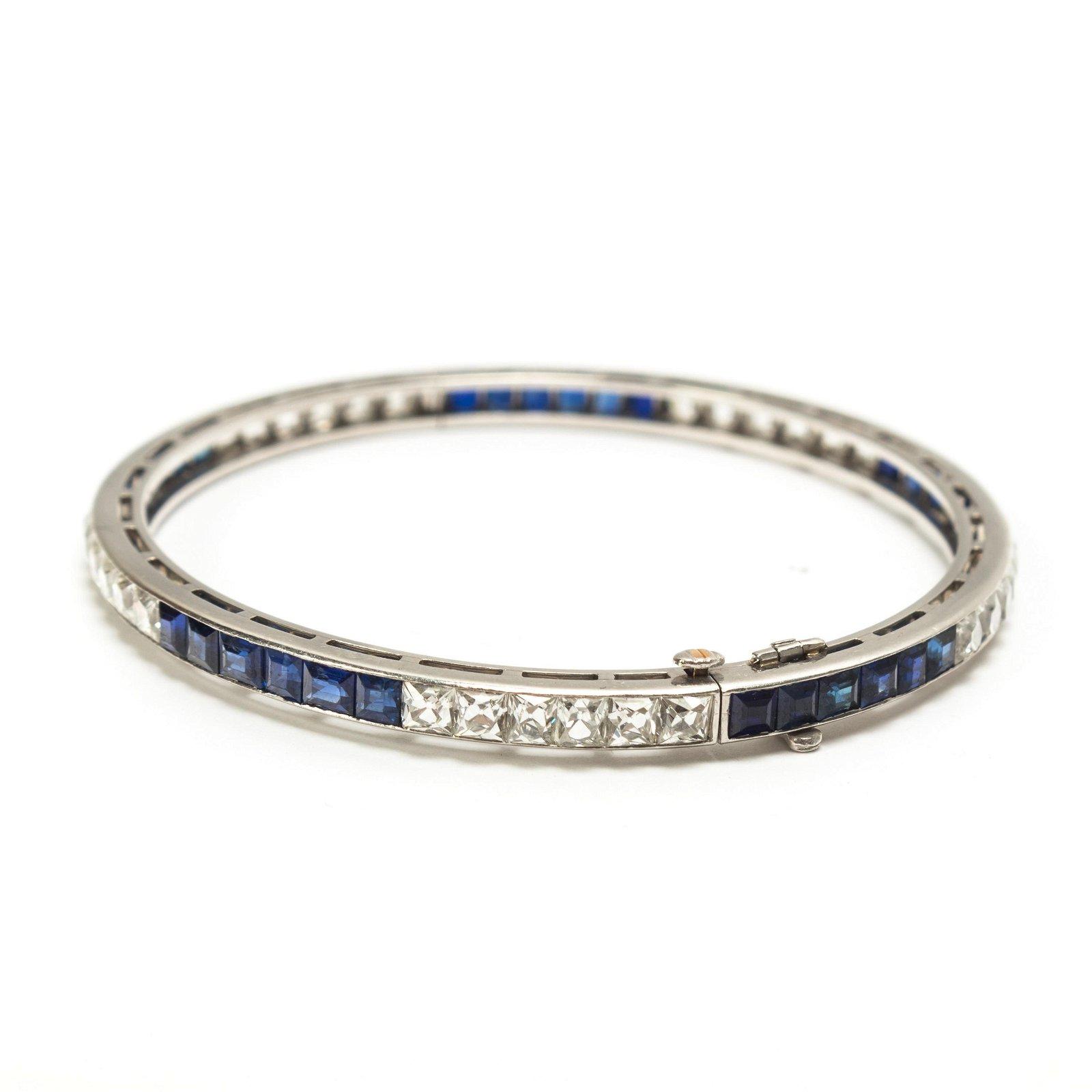 "Tiffany & Co 6"" Platinum Diamond Sapphire Bracelet"