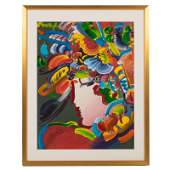 Peter Max Mixed Media Art BLUSHING BEAUTY On Paper