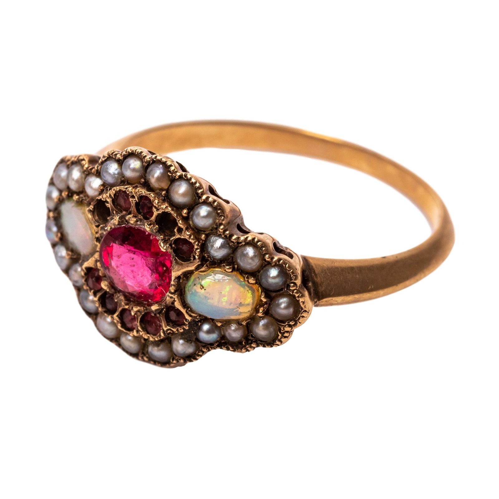 14k Gold Victorian Ladies Ruby Opal and Pearl Ring
