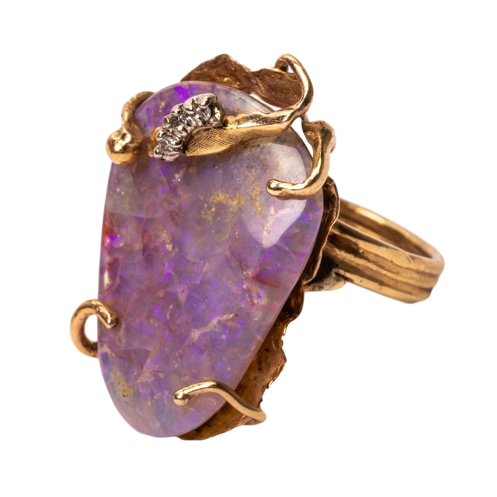 14k Gold Purple Opal Diamond Cocktail Ring Sz 7.5