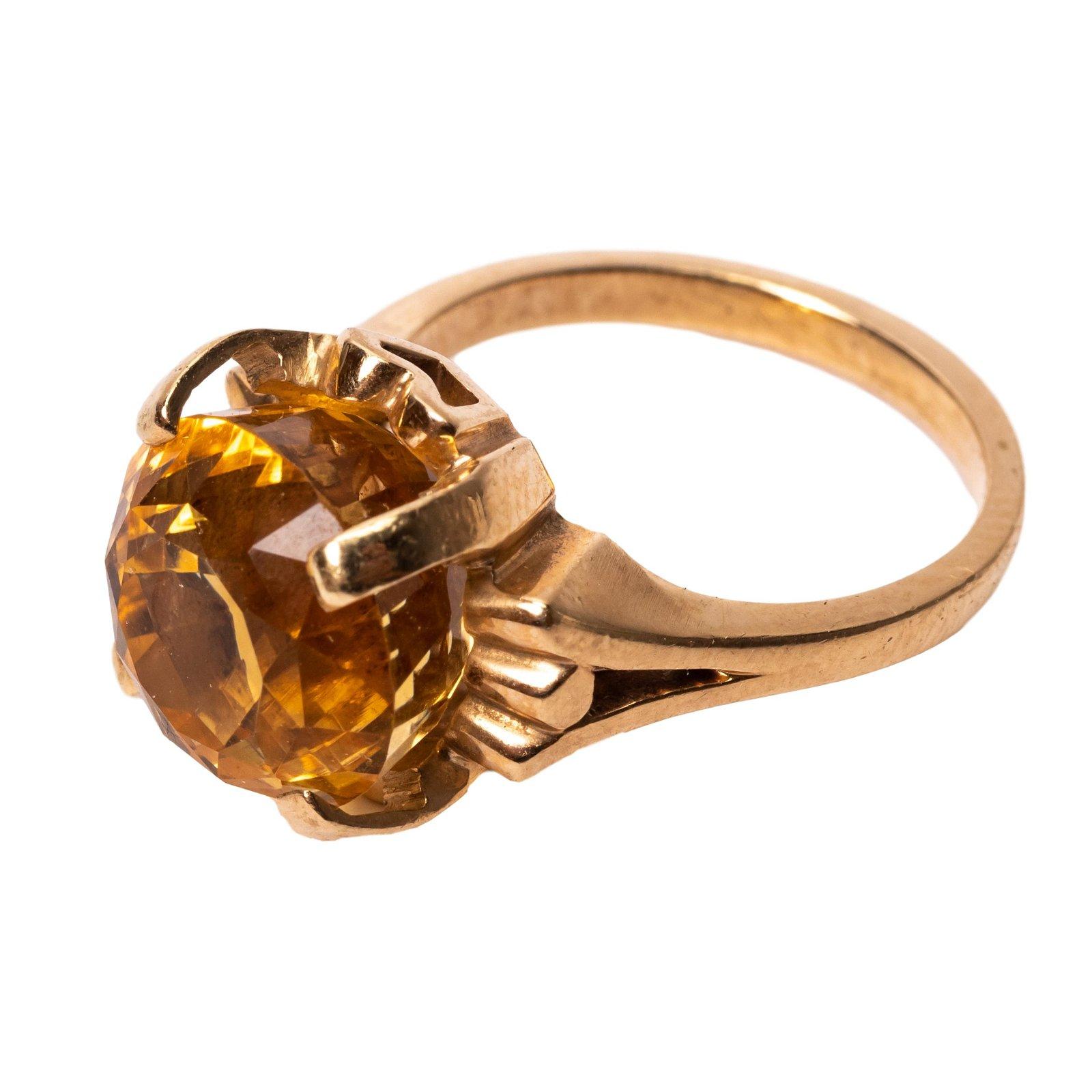 10k Gold Vintage LG 8 Carat Yellow Sapphire Ring