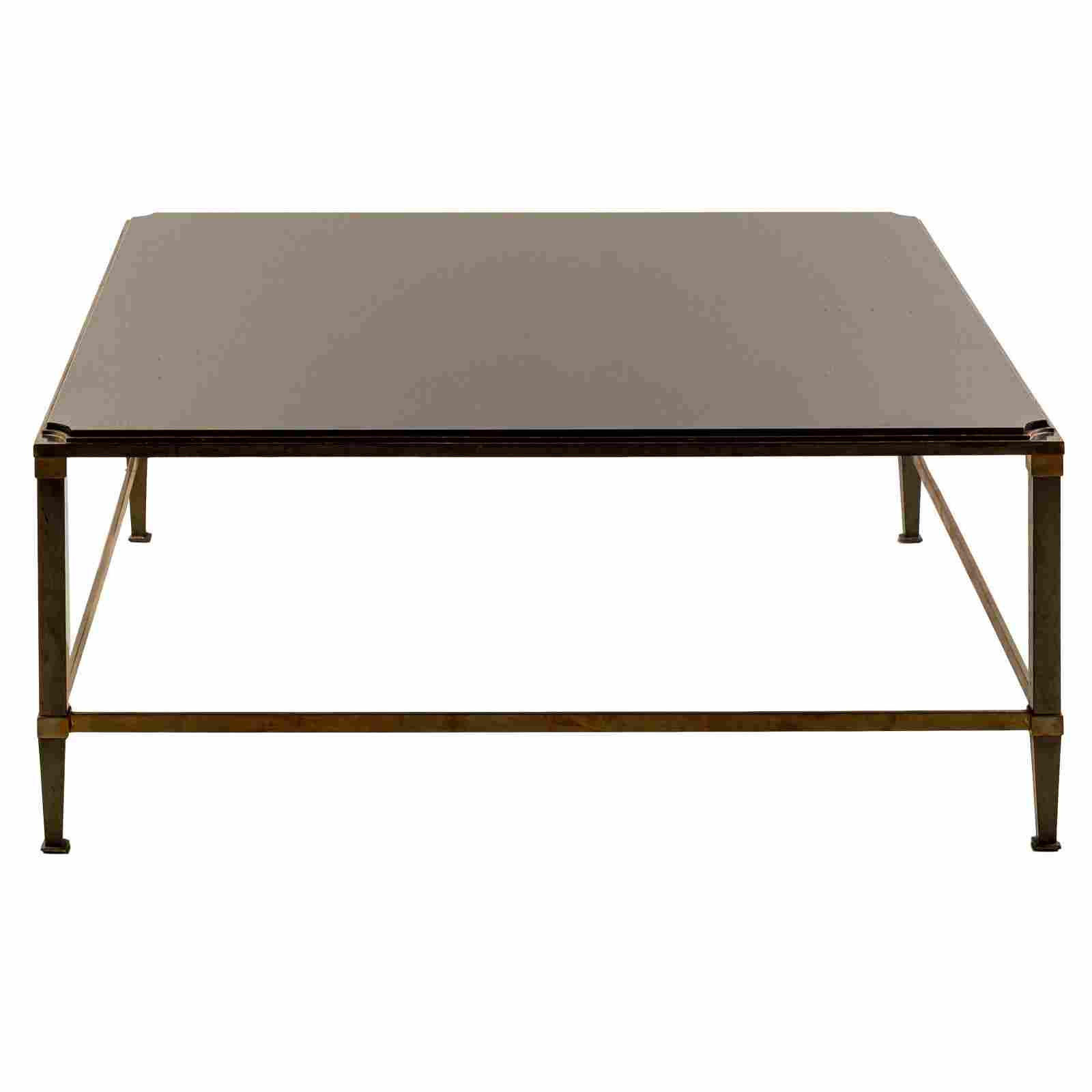 "Brass Mixed Metal 44"" Modernist Glass Coffee Table"