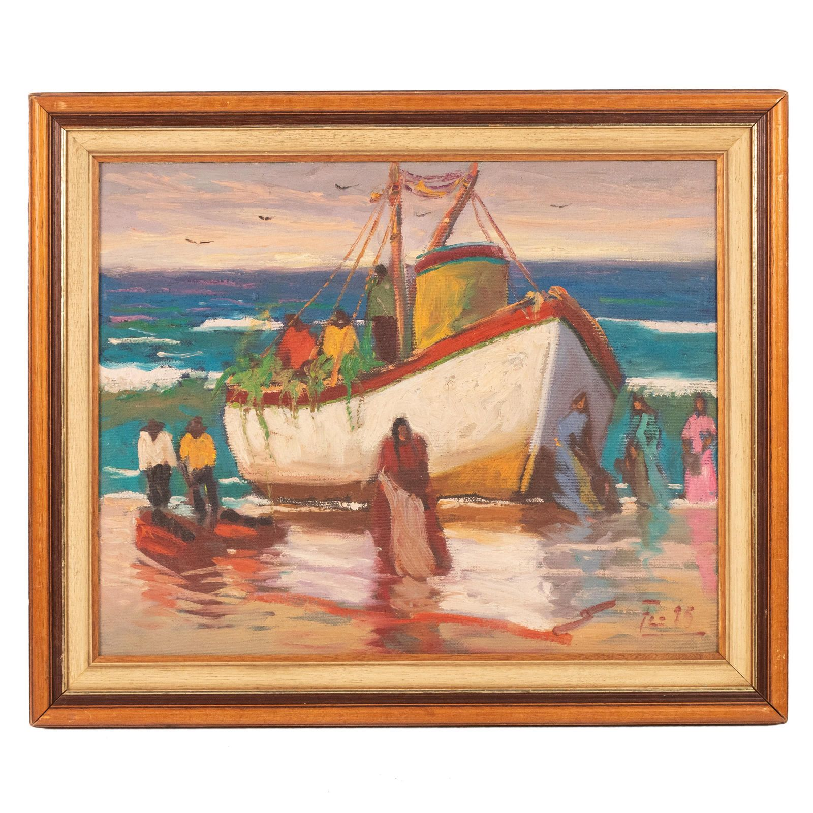 Mystery Artist Signed Oil On Canvas Boat Painting
