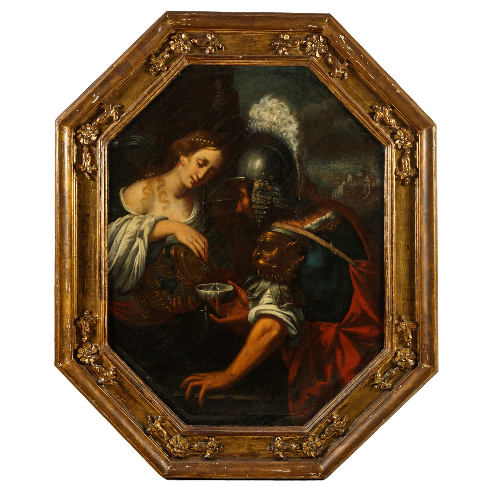 """Old Master 52"""" Woman & Soldier on Canvas Painting"""