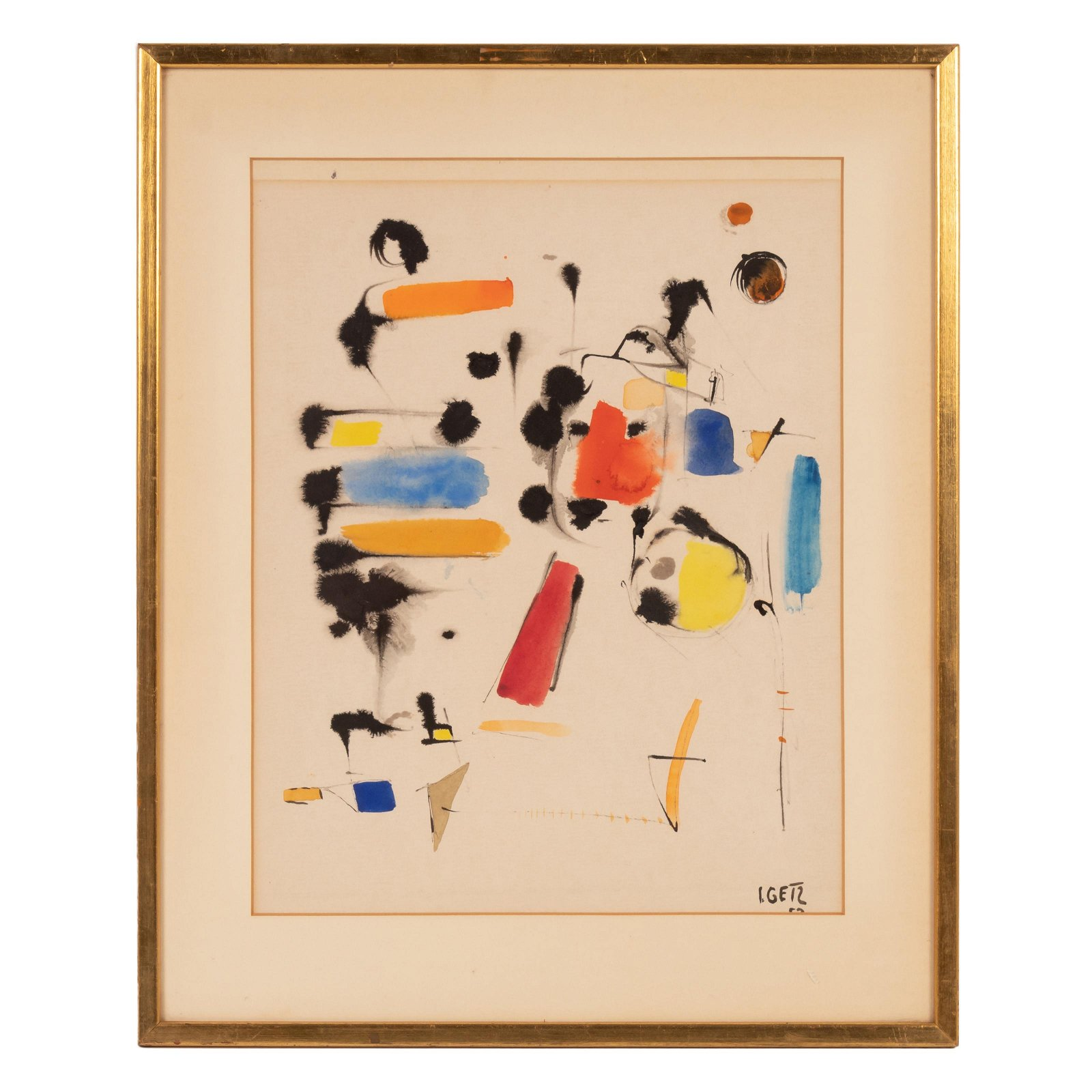 Ilse B Getz 1917-1992 Abstract Watercolor Painting