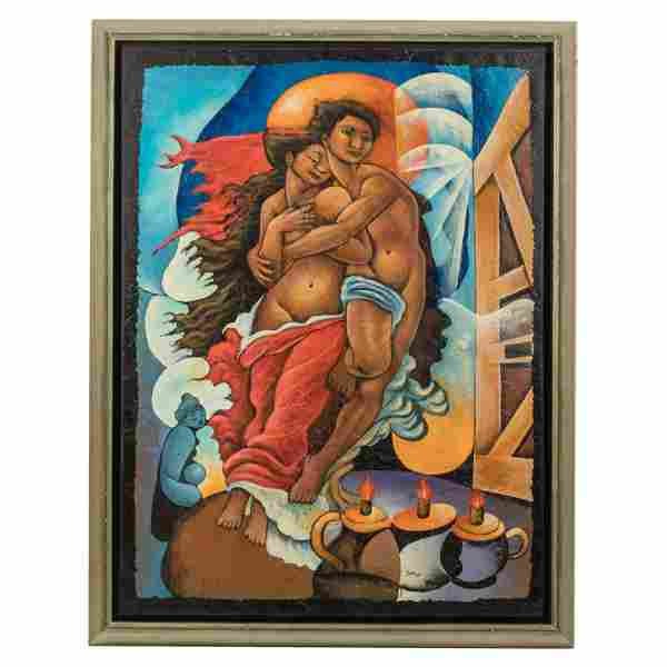Lovers SIGNED Haitian Figural Oil Canvas Painting