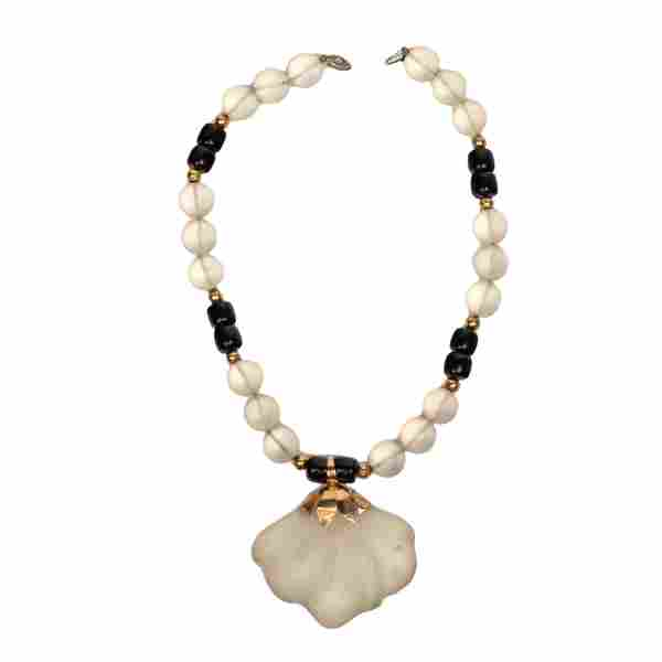 Chinese 14k Gold Rock Crystal Black Onyx Necklace
