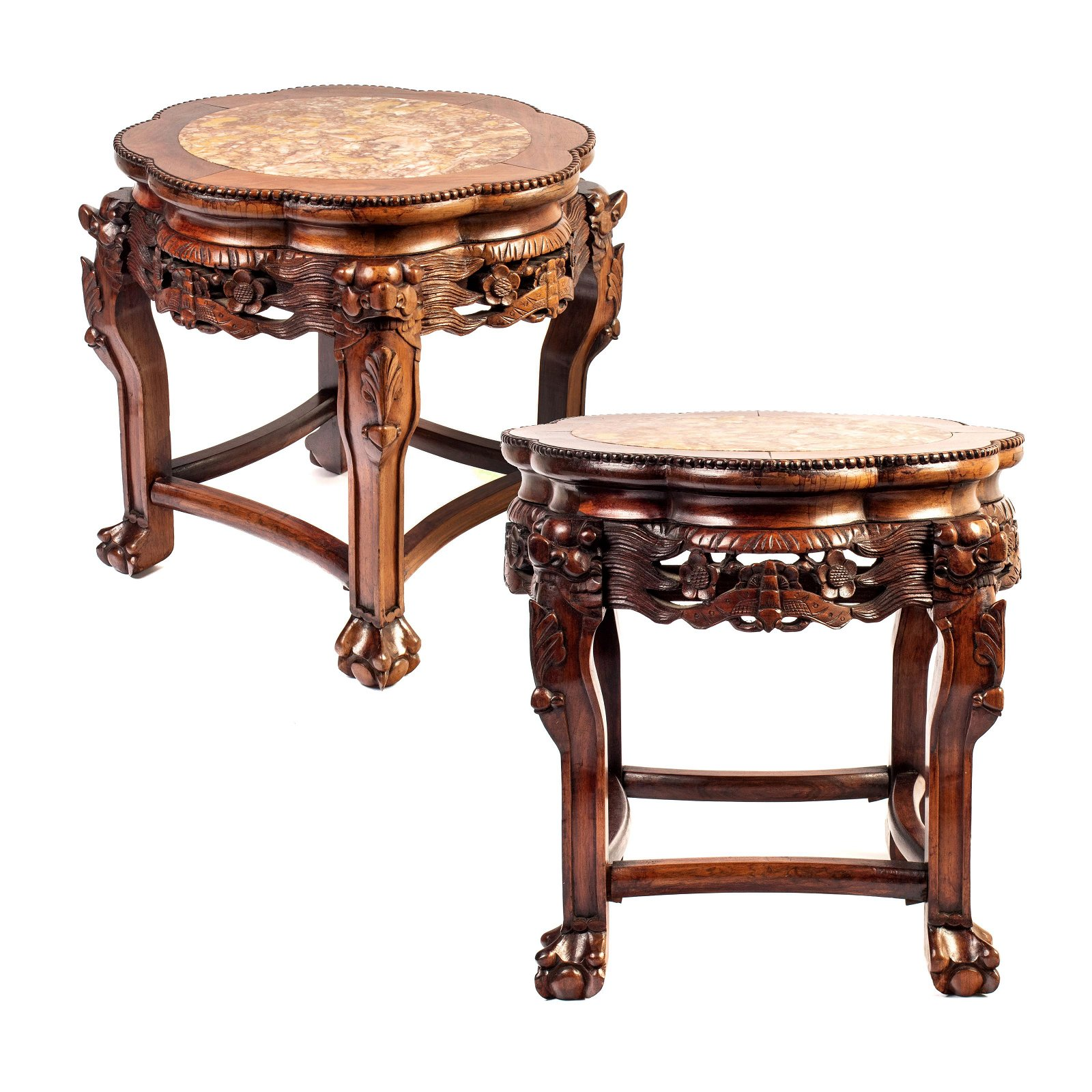 Chinese Carved Wood Marble Foo Dog End Tables PAIR