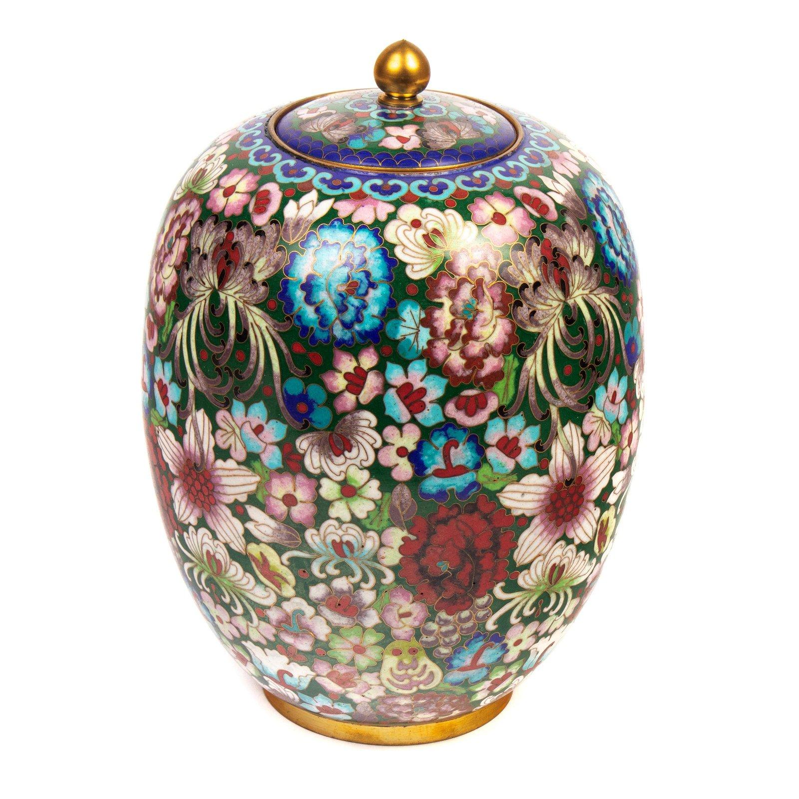 "Chinese Fine 10"" Swole Cloisonne Lidded Ginger Jar"