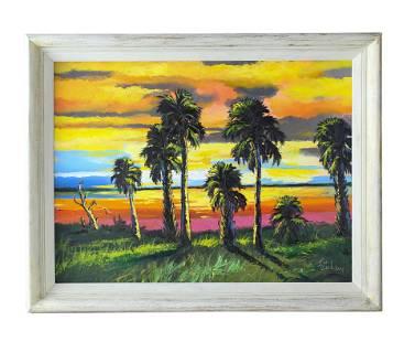 James Gibson (1938-2017) Florida Highwaymen Painting