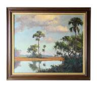 Albert Backus (1906-1990) Florida Wetlands Oil Painting